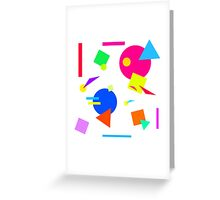 Coloured Retro (Small) Shapes 1980's - White - 80s 80's 1980s 1980's 1980 Classic Throw Back Greeting Card
