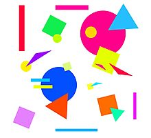 Coloured Retro (Small) Shapes 1980's - White - 80s 80's 1980s 1980's 1980 Classic Throw Back Photographic Print