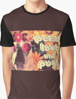 Flowered Hippie Pug Graphic T-Shirt