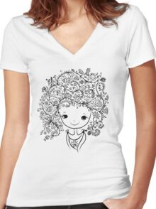 Cute girl with floral hairstyle Women's Fitted V-Neck T-Shirt