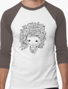 Cute girl with floral hairstyle Men's Baseball ¾ T-Shirt