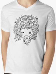 Cute girl with floral hairstyle Mens V-Neck T-Shirt