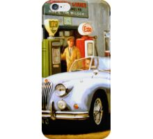 English sportscar at 1950s service station. iPhone Case/Skin