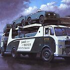 Old car transporter leaves factory. by Mike Jeffries
