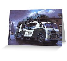 Old car transporter leaves factory. Greeting Card