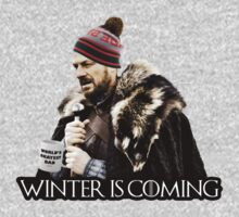 Brace yourself, winter is coming - stark beanie and coffee cup parody by bluestubble