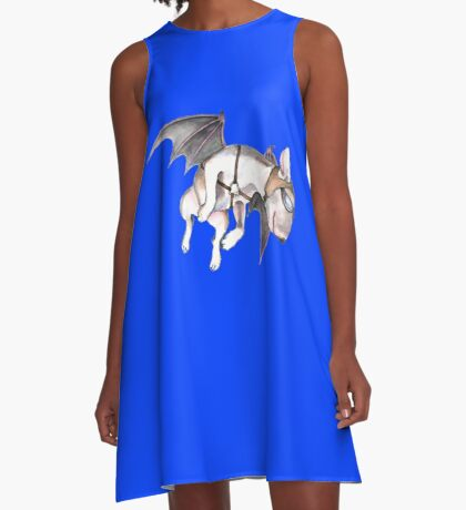 If Pigs Could Fly - on blue A-Line Dress