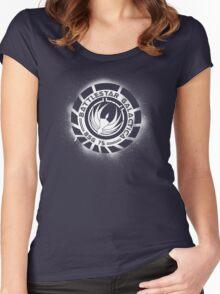 Battlestar Galactica Grunge - Dark Blue and White Women's Fitted Scoop T-Shirt