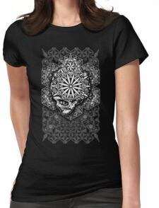 Geometric Flower of Life Skull Mandala Womens Fitted T-Shirt