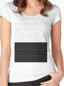 Contrast Diamond Grid  Monocrome Women's Fitted Scoop T-Shirt