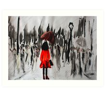 Girl In The Red Raincoat Urban Cityscape Contemporary Acrylic Painting Art Print