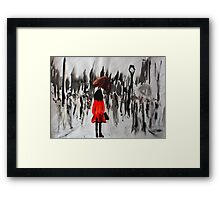 Girl In The Red Raincoat Urban Cityscape Contemporary Acrylic Painting Framed Print