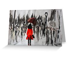 Girl In The Red Raincoat Urban Cityscape Contemporary Acrylic Painting Greeting Card