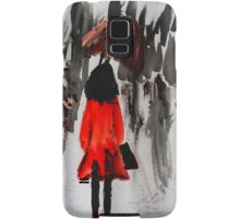 Girl In The Red Raincoat Urban Cityscape Contemporary Acrylic Painting Samsung Galaxy Case/Skin