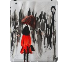Girl In The Red Raincoat Urban Cityscape Contemporary Acrylic Painting iPad Case/Skin