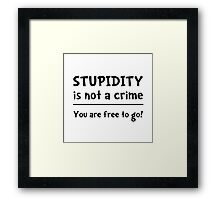 Stupidity Crime Framed Print