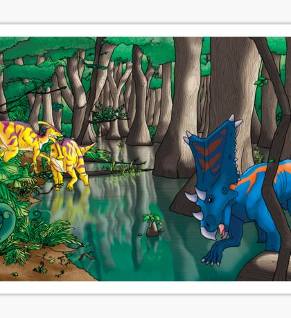 Dinosaur Swamp - Chasmosaurus and Parasaurolophus Sticker