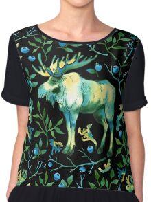 Watercolor elk Chiffon Top