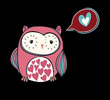 Cartoon Pink Love Owl by kwg2200