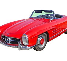 Red Mercedes Benz 300 SL Convertible by KWJphotoart