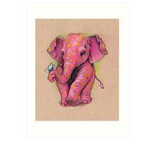 Pink Elephant (with golden spots) Art Print