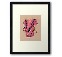 Pink Elephant (with golden spots) Framed Print