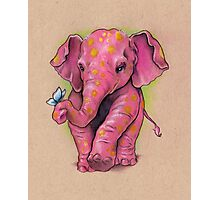 Pink Elephant (with golden spots) Photographic Print