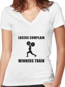 Weightlifting Winners Train Women's Fitted V-Neck T-Shirt