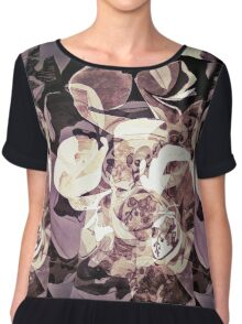 Purple Orchid Chaos - Floral Geometry Study  Chiffon Top