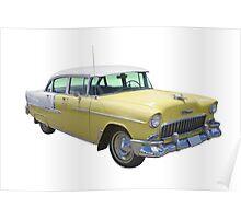 Yellow 1955 Chevrolet Bel Air Classic Car Poster