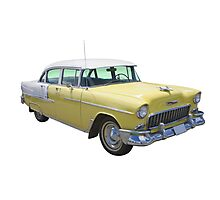 Yellow 1955 Chevrolet Bel Air Classic Car Photographic Print