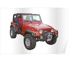 Red Jeep Wrangler Rubicon 4x4 Poster