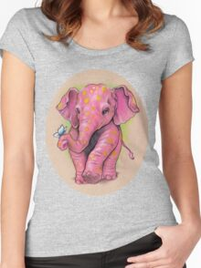 Pink Elephant (with golden spots) Women's Fitted Scoop T-Shirt