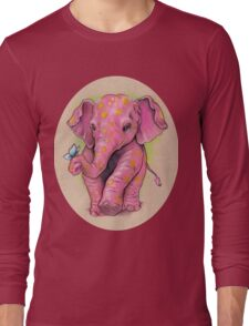 Pink Elephant (with golden spots) Long Sleeve T-Shirt