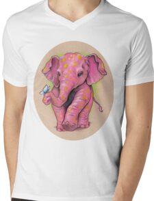 Pink Elephant (with golden spots) Mens V-Neck T-Shirt