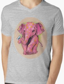 Pink Elephant (with golden spots) Mens V-Neck T-Shirt