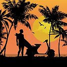 Surfer and scooter at Sunset by Auslandesign
