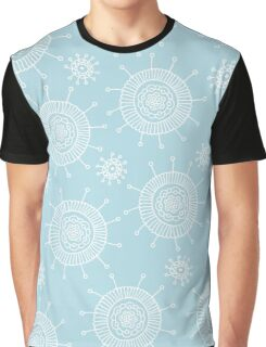 Simple doodle flower blue pattern. Seamless pastel abstract background.  Graphic T-Shirt