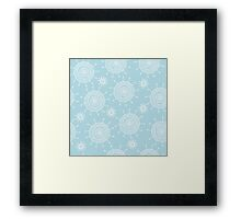 Simple doodle flower blue pattern. Seamless pastel abstract background.  Framed Print