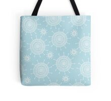 Simple doodle flower blue pattern. Seamless pastel abstract background.  Tote Bag