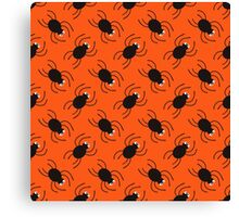 Halloween spiders diagonal pattern. Cute seamless background. Canvas Print