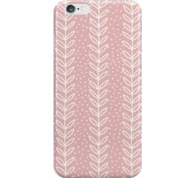 Simple leaf seamless pattern. Hand drawn pink background. Cute wallpaper. iPhone Case/Skin