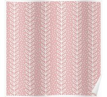Simple leaf seamless pattern. Hand drawn pink background. Cute wallpaper. Poster