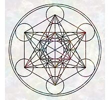 Metatron's Cube on White Photographic Print