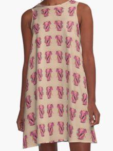 Pink Elephant (with golden spots) A-Line Dress