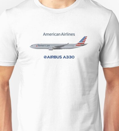 Illustration of American Airlines Airbus A330-300 Unisex T-Shirt