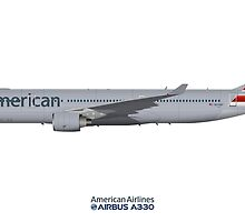 Illustration of American Airlines Airbus A330-300 by © Steve H Clark