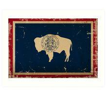 Wyoming State Flag VINTAGE Art Print