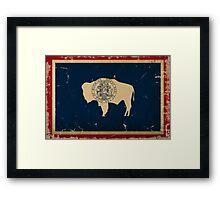 Wyoming State Flag VINTAGE Framed Print