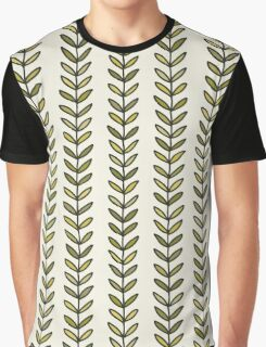 Simple green leaf seamless pattern. Hand drawn natural background.  Graphic T-Shirt